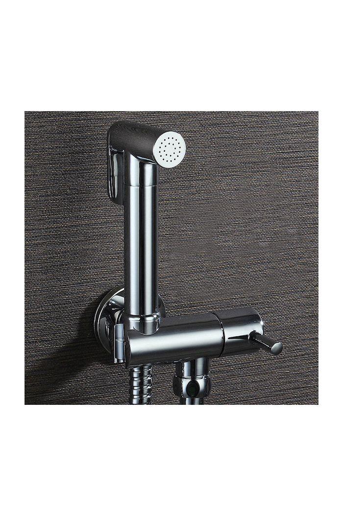 Toiletdouche Inbouw Set met gecombineerde design wandhouder/stopkraan